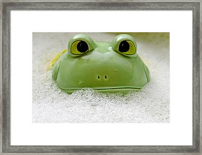 Frog In The Bath  Framed Print