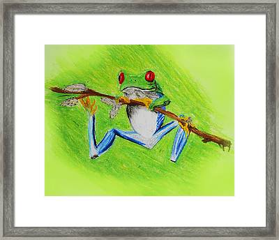 Framed Print featuring the digital art Frog by Serene Maisey