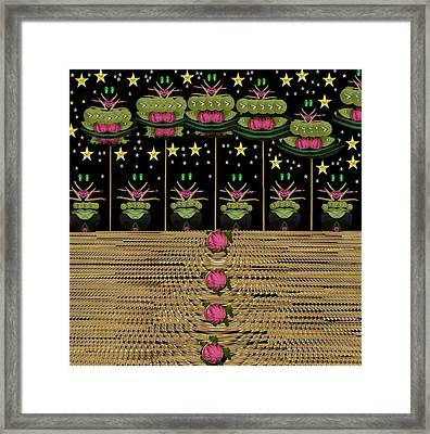 Frogs Singing In The Dark Night Framed Print