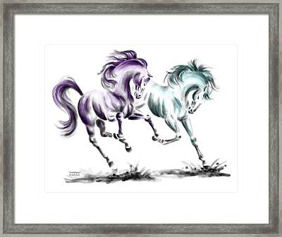 Frolicking - Wild Horses Print Color Tinted Framed Print by Kelli Swan