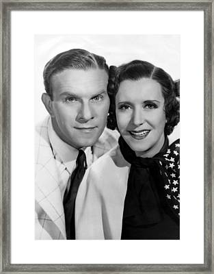 From Left George Burns, Gracie Allen Framed Print by Everett