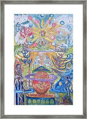 From The Sun Come Red Yellow And Blue Framed Print by Timothy  Foley