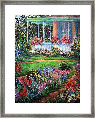 Front Porch And Flower Gardens Framed Print by Glenna McRae