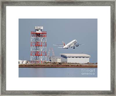 Frontier Airlines Jet Airplane At San Francisco International Airport Sfo . 7d11799 Framed Print