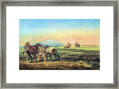 Frontiersmen And Native American Framed Print by Photo Researchers