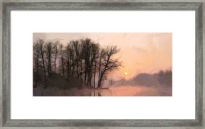 Frosty Morning At The Lake Framed Print by Steve K
