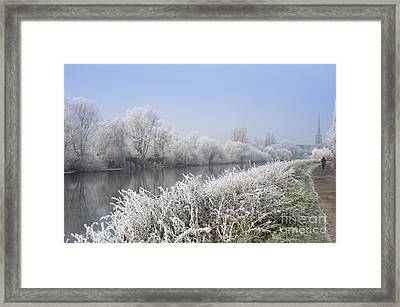 Frosty Morning Landscape Framed Print by Andrew  Michael