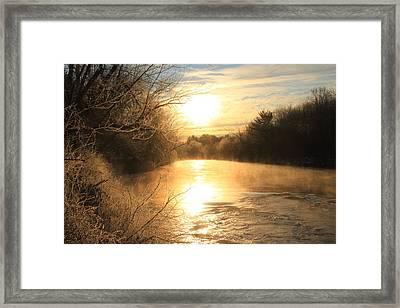 Frozen Fog At Sunrise On The Ashuelot River Framed Print by John Burk