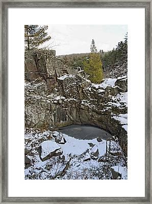 Frozen Sink Hole Framed Print by Roderick Bley