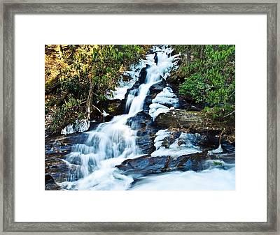 Framed Print featuring the photograph Frozen Waterfall by Susan Leggett