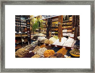 Fruit And Nuts Market Stall, Istanbul Framed Print