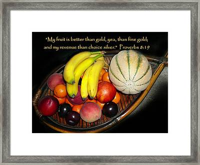 Fruit And Proverbs 8 Framed Print by Cindy Wright