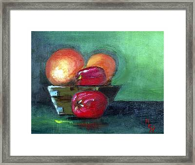 Framed Print featuring the painting Fruit In A Bowl by Margaret Harmon
