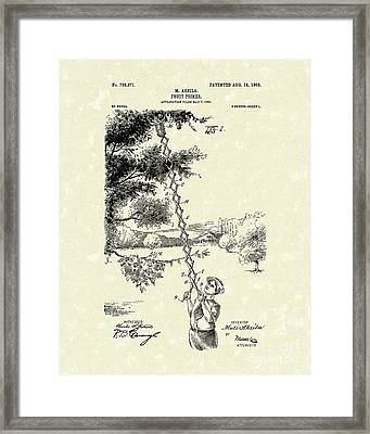 Fruit Picker 1903 Patent Art Framed Print by Prior Art Design
