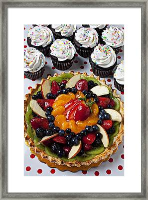 Fruit Tart Pie And Cupcakes  Framed Print