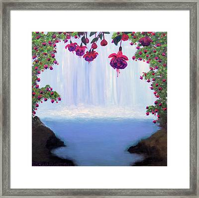 Fuchsia Falls Framed Print by Janet Greer Sammons