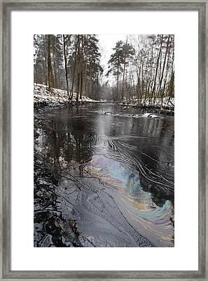 Fuel Oil Spill In A River Framed Print by Ria Novosti