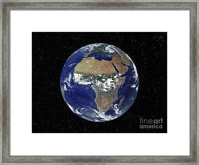 Full Earth Showing Africa And Europe Framed Print by Stocktrek Images
