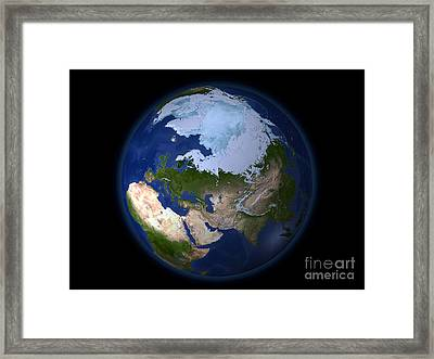 Full Earth Showing The Arctic Region Framed Print by Stocktrek Images