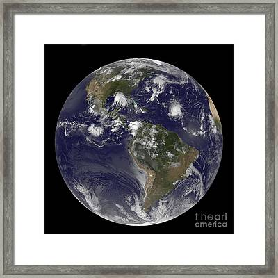 Full Earth Showing Tropical Storms Framed Print by Stocktrek Images
