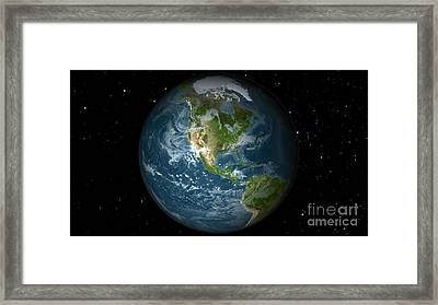 Full Earth View Showing North America Framed Print by Stocktrek Images