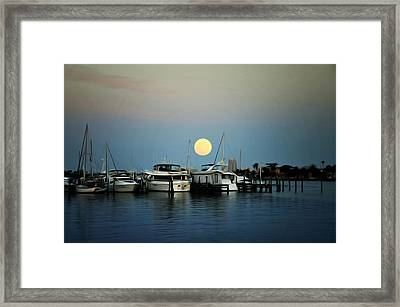 Full Moon At Clearwater Marina Framed Print by Bill Cannon