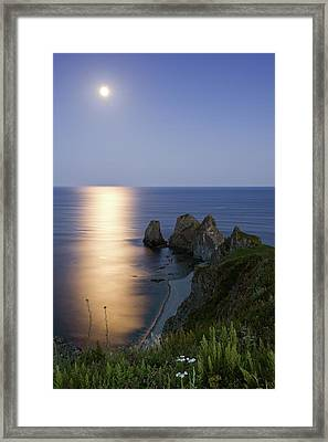 Full Moon On Cape Four Rocks Framed Print by V. Serebryanskiy