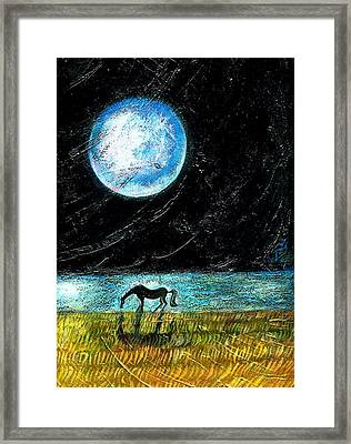 Full Moon On The Seashore Framed Print by Ion vincent DAnu