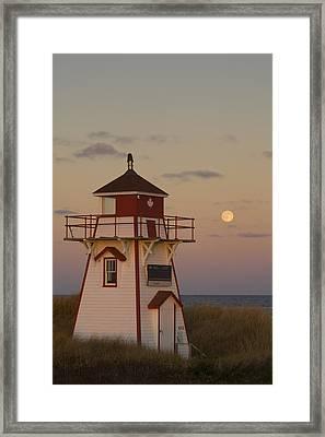 Full Moon Over Covehead Lighthouse Framed Print by John Sylvester