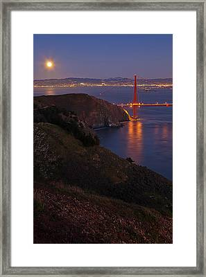 Full Moon Over Golden Gate Bridge Framed Print by Photo by Mike Shaw