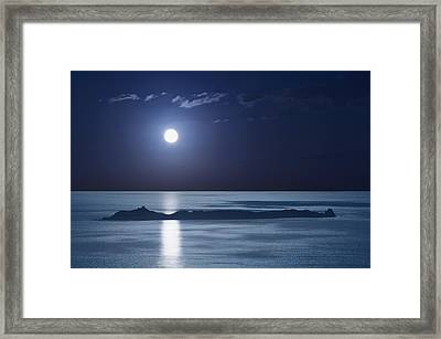 Full Moon Over Seascape Framed Print by Anna Henly