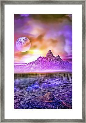 Full Moon Over The Mountains Framed Print
