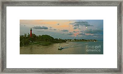 Framed Print featuring the photograph Jupiter Lighthouse Moon Rising by Larry Nieland