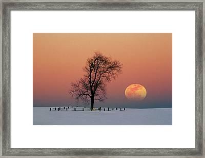 Full Moon Rising Near Graveyard Framed Print