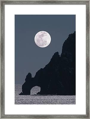 Full Moon Rising Over A Coastal Cliff Framed Print by David Nunuk