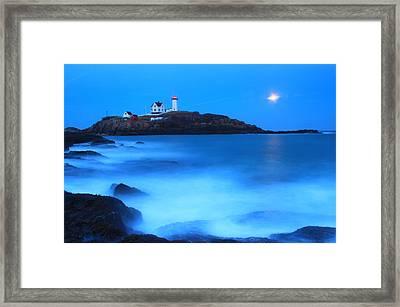 Full Moon Surf Cape Neddick Nubble Lighthouse Framed Print by John Burk
