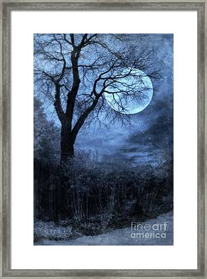 Full Moon Through Bare Trees Branches Framed Print by Jill Battaglia