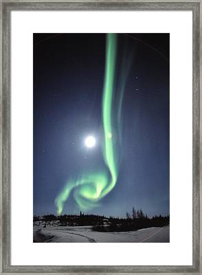 Full Moon With Aurora In Yellowknife Framed Print by Robert Postma