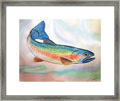 Framed Print featuring the painting Full On Trout by Alethea McKee