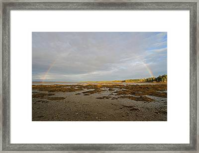 Full Rainbow Arc Over Acadia Np Framed Print by Juergen Roth