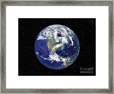 Fully Lit Earth Centered On North Framed Print by Stocktrek Images
