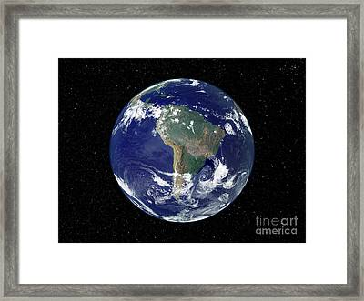 Fully Lit Earth Centered On South Framed Print by Stocktrek Images