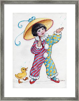 Framed Print featuring the drawing Fun In The Rain At The Children's Parade by Dee Davis