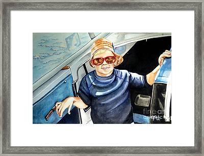 Fun On Grandpa's Boat Framed Print