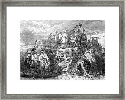 Funeral Of Julius Caesar, 44 Bc Framed Print