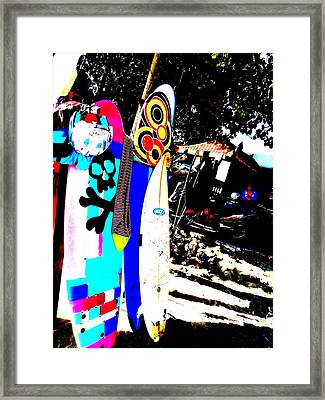 Funky Surf Boards In Seminyak Framed Print by Funkpix Photo Hunter