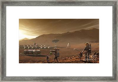 Future Mars Colonists Playing Framed Print by Steven Hobbs