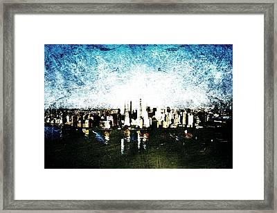 Framed Print featuring the digital art Future Skyline by Andrea Barbieri