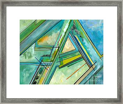 Interior Designers Abstract Lines Art Decorative G88gle Map Print Framed Print by Marie Christine Belkadi