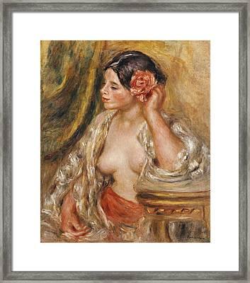 Gabrielle A Sa Coiffure Framed Print by Pierre Auguste Renoir
